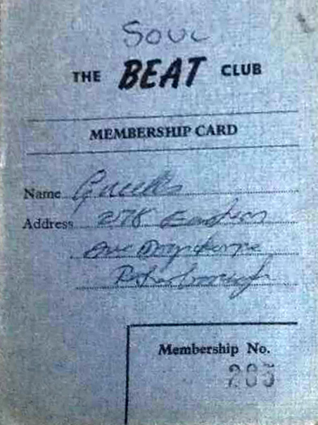 Elwes Hall Beat Club membership card from the 1960s